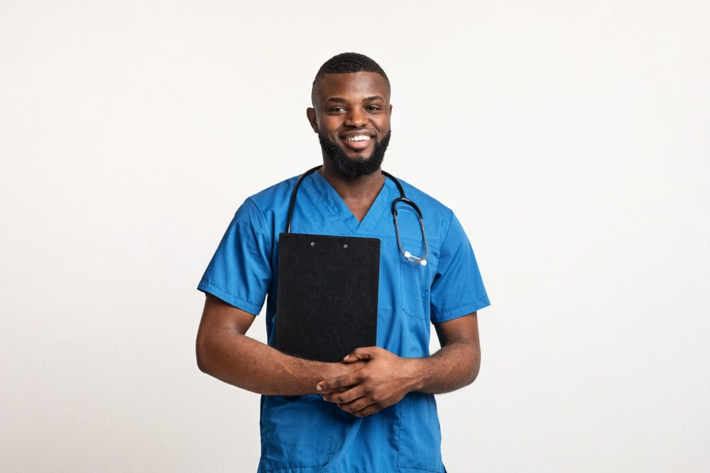 Positive young black doctor with patients anamnesis over white